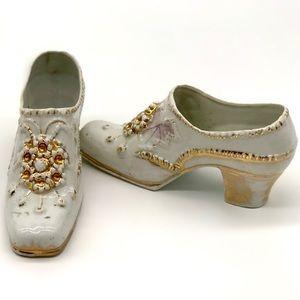 Antique Porcelain Gilded Shoes Trinket Box Pair
